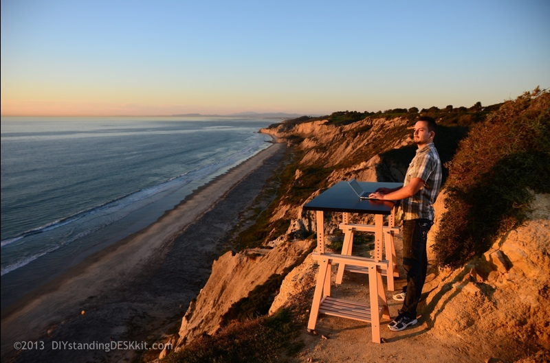 Sergey into the Sun @ our Standing Desk – Torrey Pines State Park, San Diego, CA