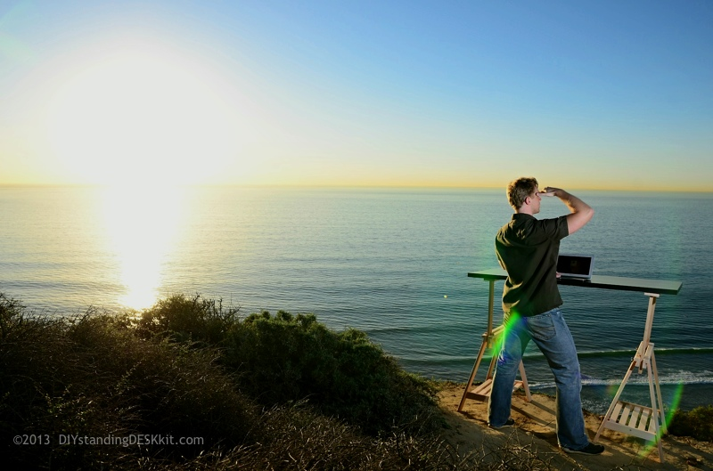 Paul Sunset @ our Standing Desk – Torrey Pines State Park, San Diego, CA