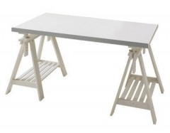IKEA VIKA Artur / FINNVARD adjustable-height desk with white table top